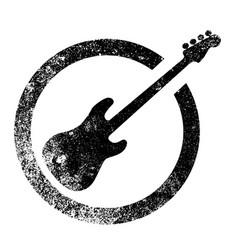 Bass guitar ink stamp vector