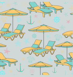 Beach seamless pattern lounge chair on vector
