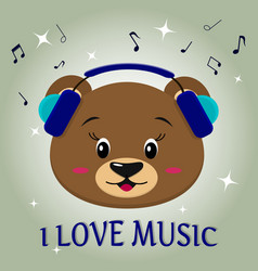 Bear brown musician listening to music head in vector