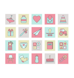 big web square icon set baby toy feed and care vector image