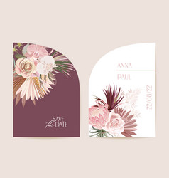 boho orchid pampas grass protea card template vector image