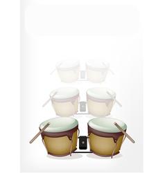 Bongo Drum with Sticks on White Background vector