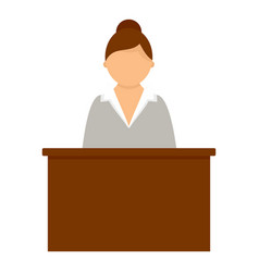 business lady at desktop icon flat style vector image