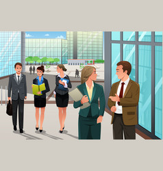 business people walking and talking outside their vector image