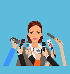 business woman giving an interview vector image