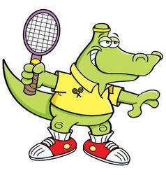 Cartoon alligator playing tennis vector image