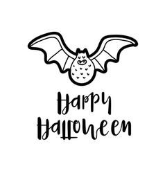 cartoon bat and message happy halloween vector image