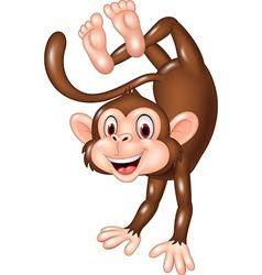 Cartoon funny monkey dancing vector image