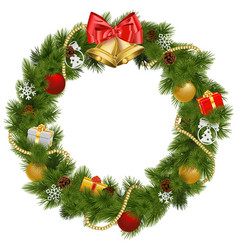 Christmas wreath with golden bells vector