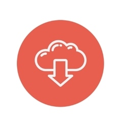 Cloud with arrow down thin line icon vector