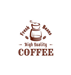 Coffee icon of grinder and beans for shop vector