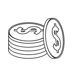 Coins currency money stack thin line vector