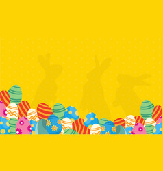 Collection of bunny and egg easter backgrounds vector