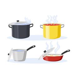Cooking pot and pan set vector