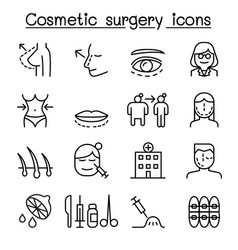 Cosmetic surgery surgical operation icon set in vector