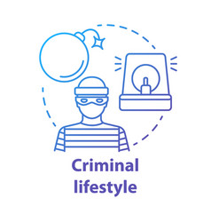Criminal lifestyle blue concept icon committing vector