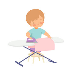 Cute boy ironing clothes on board adorable kid vector