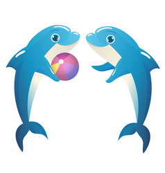 dolphins playing with a ball vector image