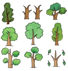 Doodle of tree collection object vector