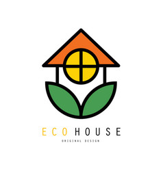 Eco friendly house logo with green leaves safe vector