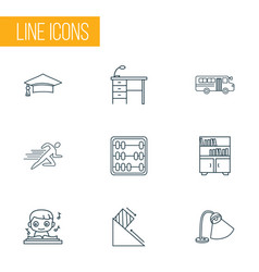 Education icons line style set with book shelves vector