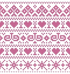 Embroidery cross stitch style vector