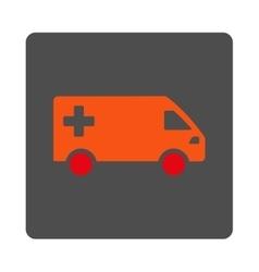 Emergency van flat button vector