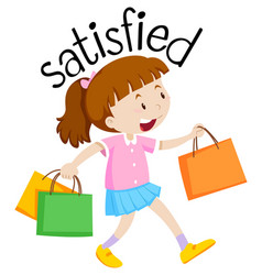 English vocabulary of satisfied vector