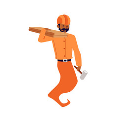 Fairy genie handyman or workman builder flat vector