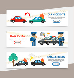 flat auto accident horizontal banners vector image