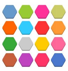Flat blank web icon color hexagon button vector image