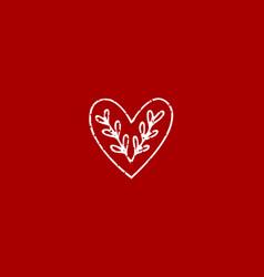 Folk heart with leaves vector