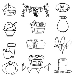 Food vegetable thanksgiving on doodles vector