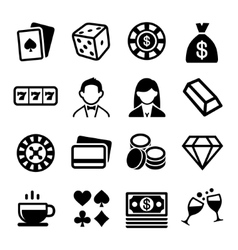 Gambling and casino icons set vector