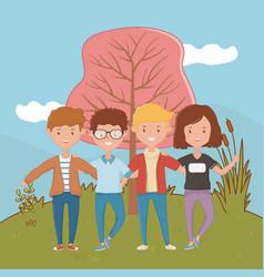 Girl and boys friendship design vector