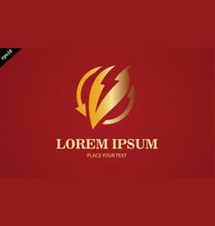 Gold bio electric leaf logo vector
