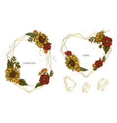 golden frame with poppy flower sunflower vector image