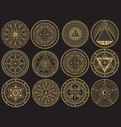 golden mystery witchcraft occult alchemy vector image
