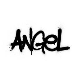 Graffiti angel word sprayed in black over white vector