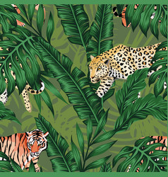 green banana leaves tiger leopard seamless vector image