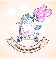 Greeting card with cute unicorn and balloons vector