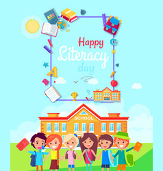 Happy literacy day poster vector