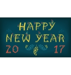Happy new year 2017 Greeting vintage card vector