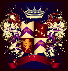 heraldic shield with golden swirls crown vector image