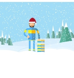 Hipster man with beard on winter landscape vector