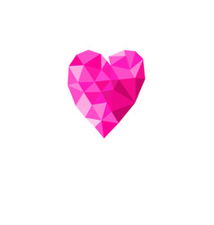 holiday card with pink geometric heart isolated vector image
