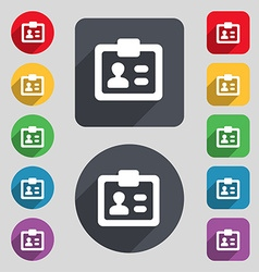 ID Identity card icon sign A set of 12 colored vector image