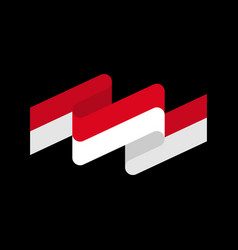 Indonesia flag ribbon isolated indonesian tape vector