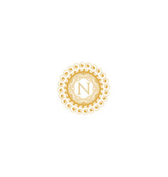 Letter n initial logo for wedding boutique luxury vector