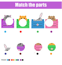 Matching children educational game kids activity vector